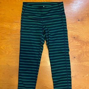 Athleta blue/green striped capris XXS